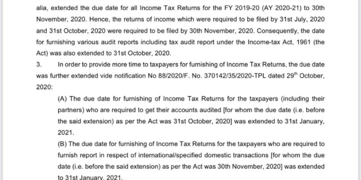 FY1920 GSTAudit, Income Tax Audit and ITR due dates extended